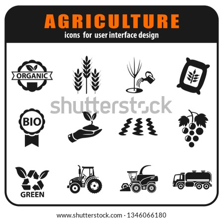Vector agricultural icons set for user interface design