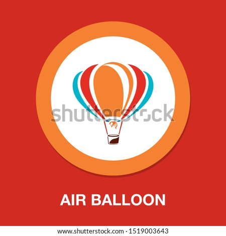 vector air balloon icon, ballooning adventure fly, travel leisure