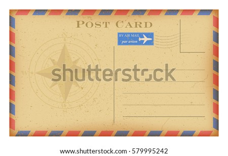 Vector Air Mail Old Postcard With Compass Grunge Paper Vintage Post Card Isolated On
