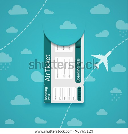 Vector air ticket on sky background.