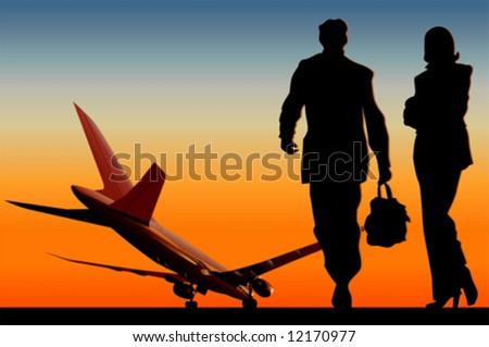 Vector airliner at runway. More transportation illustrations see in my portfolio.