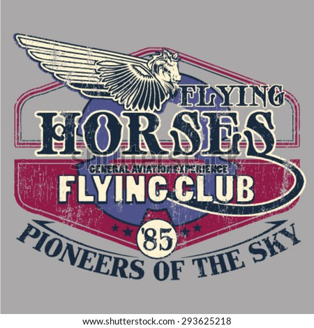 Vector airplane / Flying Academy Club Emblems /flying horses