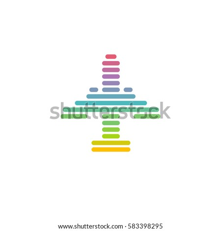 Vector airplane icon from color stripes