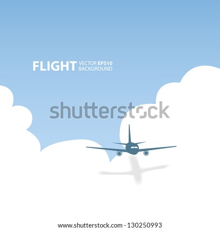 Vector airplane in the sky. Flight background