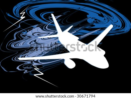 vector airplane in thunderstorm