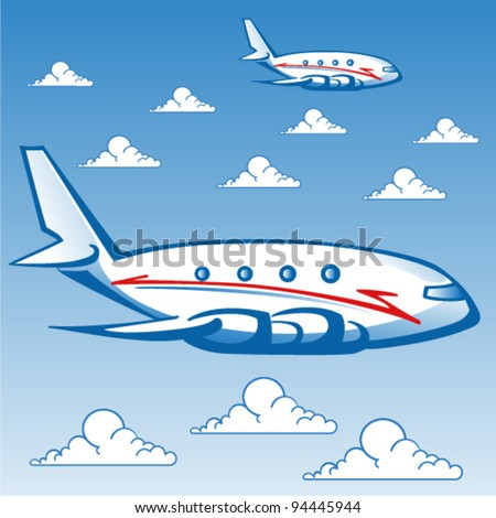 Vector airplanes with clouds
