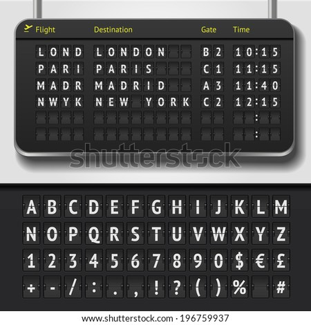 Vector airport board isolated. Realistic flip airport scoreboard template. Black 3d airport timetable with departure or arrival. Analog airport board font on dark background. Destination airline board