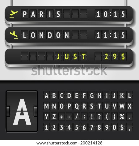 Vector airport board isolated. Realistic flip information board airport template. Arrival airport board alphabet and numbers. Analog airport timetable font. Destination airline board shows flight time