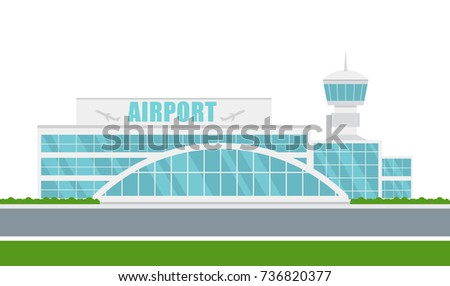 Vector airport building on white background