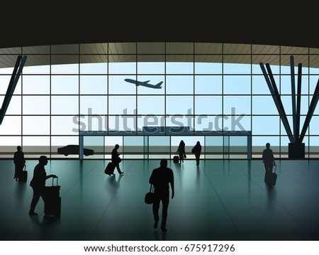 Vector Airport Hall With Passenger Silhouettes, Eps 10 Vector, Transparency and Gradient Mesh Used