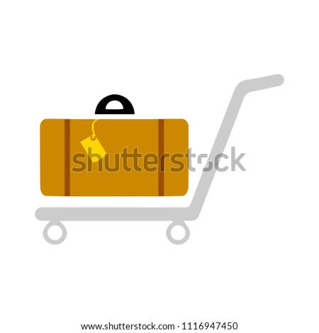 vector Airport trolley illustration. travel icon, transport sign symbol