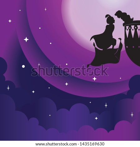 vector Aladdin and yasmin silhouette in Arabian night