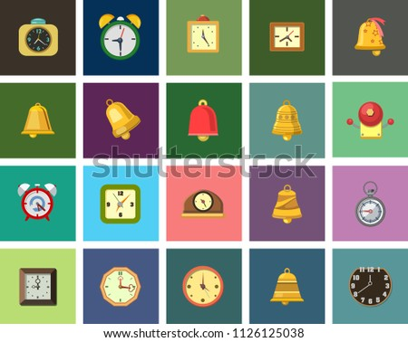 vector alarm illustrations isolated - emergency, security sign symbols. watch and clock icons
