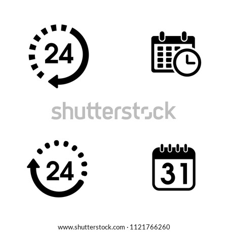 vector alarm time, clock and watch icons set - timer interface. calendar date concept
