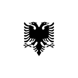 Vector Albanian flag eagle with two heads symbol