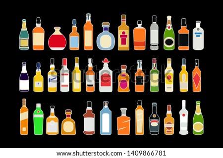 vector Alcohol bottles line icons set. Flat design alcohol bottles collection illustration vector #1409866781