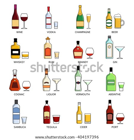 Vector Alcohol List With Icons For Bar Menu. Vodka Champagne Wine ...
