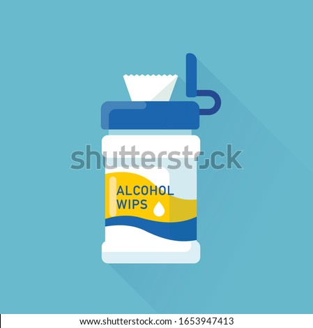 vector alcohol wipes package / wet tissue / epidemic prevention concept / antibacterial, disinfection, sterilization / isolated, sign and icon template