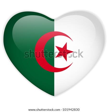 Vector - Algeria Flag Heart Glossy Button