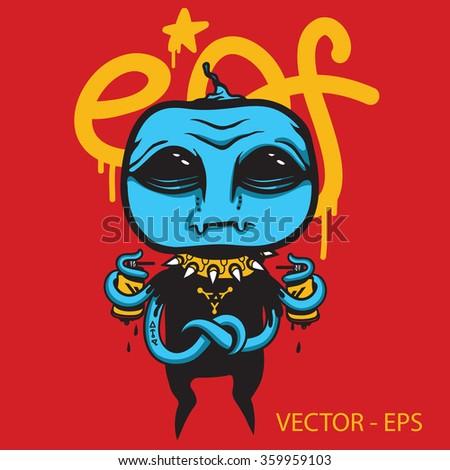 vector alien graffiti artist