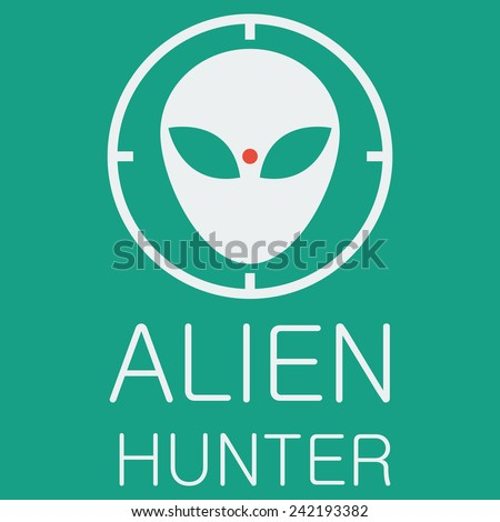 vector alien hunter on green