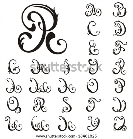 capitalized cursive letters. capital letters in handwriting