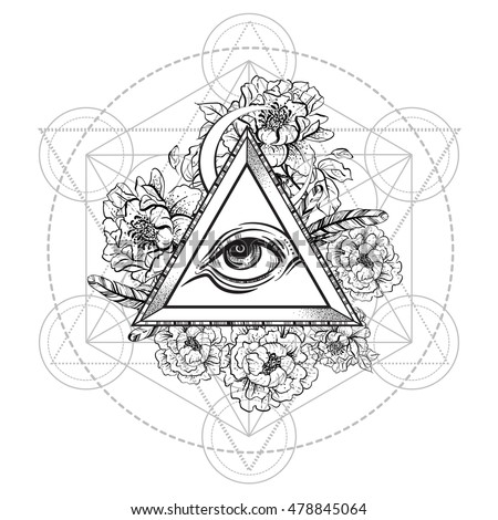 015a213c48578 Vector all seeing eye pyramid symbol with peony flower. and sacred  geometry. Eye of