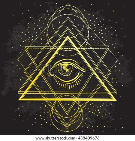 Vector All Seeing Eye Symbol On Sacred Geometry Dark Background