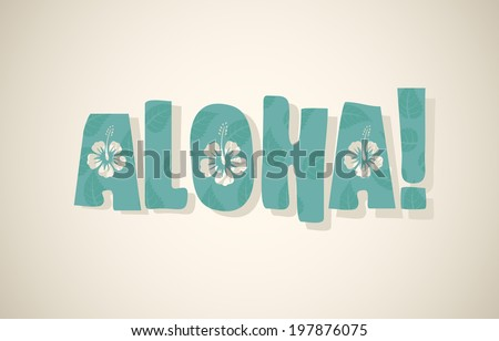 vector aloha word in retro