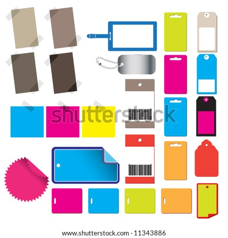 Vector - Alot of glossy and colorful sale tag stickers.