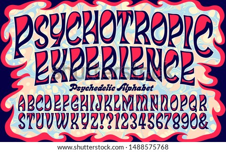 Vector alphabet; a swirling flowing font in the style of psychedelic 1960s lettering, similar to vintage psychedelic posters and album artwork.