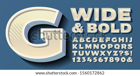 Vector alphabet; a wide and bold font in light warm neutral tones. This lettering has zig zag lines, gradients, 3d depth and shadow effects. Retro vintage typography style. Stock foto ©