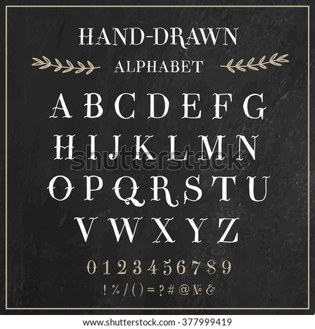 vector alphabet and numbers set