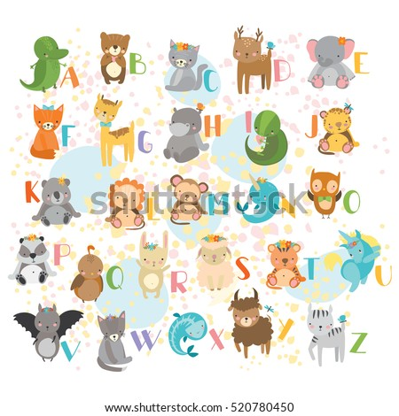 Vector alphabet cute cartoon animals for kids