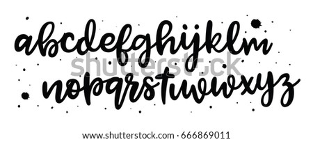 Vector Alphabet. Exclusive Custom Letters isolated on white. Lettering and Typography for Designs: Logo, for Poster,  Card, etc. Vector Brush Typography. Handwritten brush style modern cursive font.