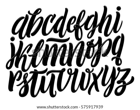 Shutterstock Vector Alphabet. Exclusive Custom Letters. Lettering and Custom Typography for Designs: Logo, for Poster, Invitation, etc. Handwritten brush style modern cursive font isolated on white background.