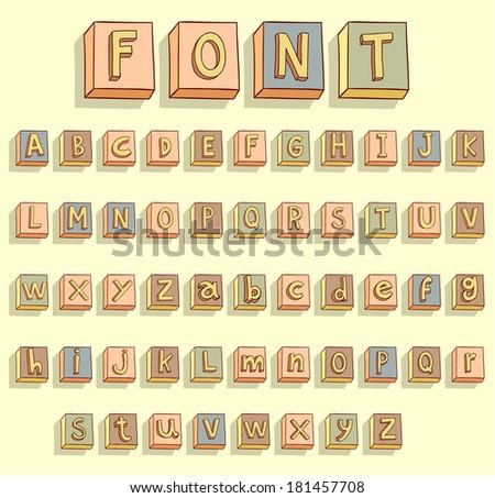 Vector Alphabet Font - Alphabet A Through Z, Vintage Wood ...