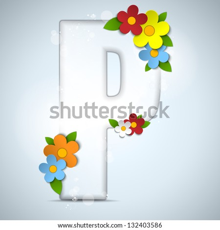 Vector - Alphabet Glass Spring with Flowers