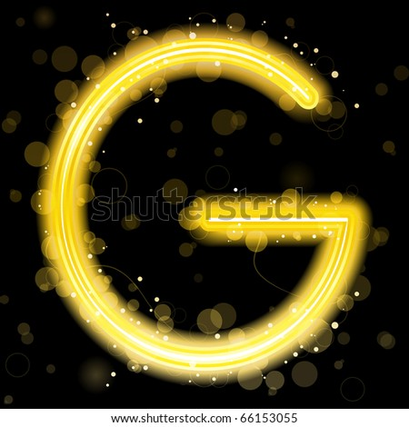 Vector - Alphabet Golden Letters with Glitter and Sparkles