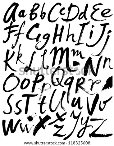 Vector alphabet. Hand drawn letters. Letters of the alphabet written with a brush.