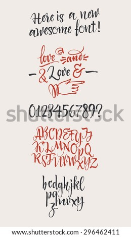 Vector alphabet. Hand drawn letters, numbers and  decorative elements. Letters of the alphabet written with a brush