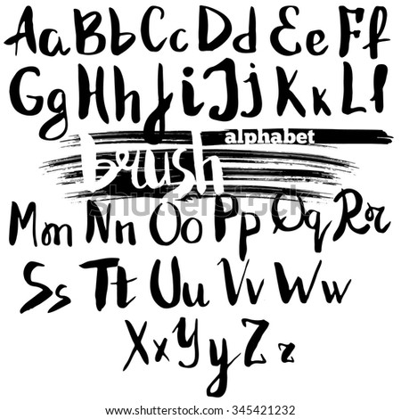 Vector alphabet. Hand drawn letters written with a brush. Ink brush alphabet. Stock vector