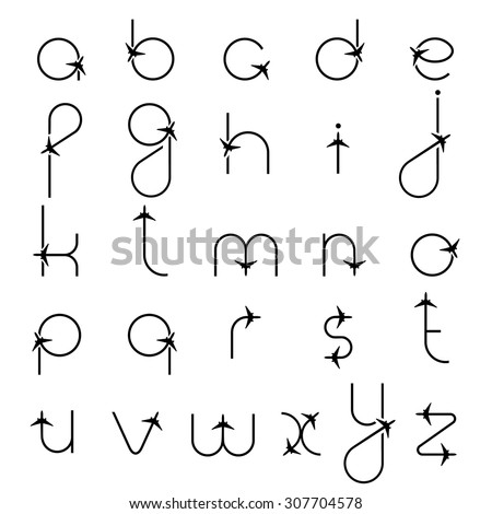 letters of the alphabet with airplane symbols