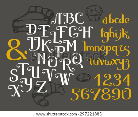 Vector Alphabet Lowercase Uppercase Letters Numbers And Ampersand Hand Drawn Fancy ABC