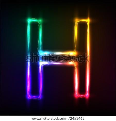 Vector alphabet.  Neon  letter H