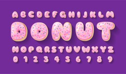 Vector alphabet of donuts. Bakery sweet tasty font. Pink letters and numbers on the purple background. Food lettering