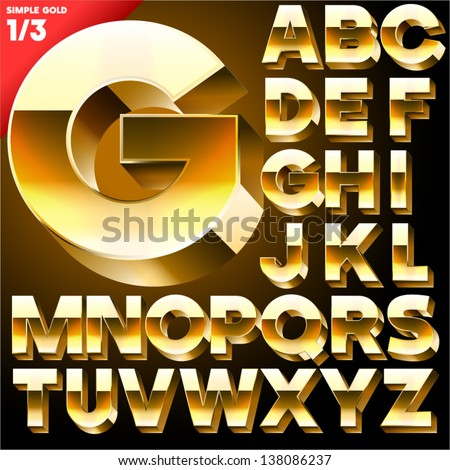 Vector alphabet of simple 3D letters Sans bold Upper cases Black