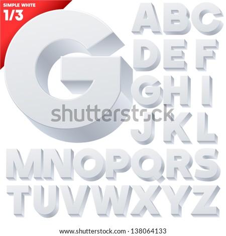 Vector alphabet of simple 3d letters. Sans bold. Upper cases White #138064133