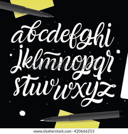 Vector Alphabet. Painted Type. Handwritten Script Font. Hand Lettering and Custom Typography art for Designs: Logo, Cards, etc. Brush Typeface isolated on black background.