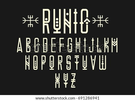 Vector alphabet set. Capital letters in geometric ethnic style with points. For hipster theme, music album cover design.